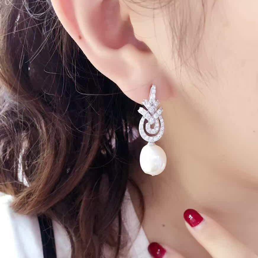 cef24cf3e Jewelry Set Pearl Earrings Profiled Beads Ear Stud Exclusive Necklace  Pendant S925 Silver White Gold Plated
