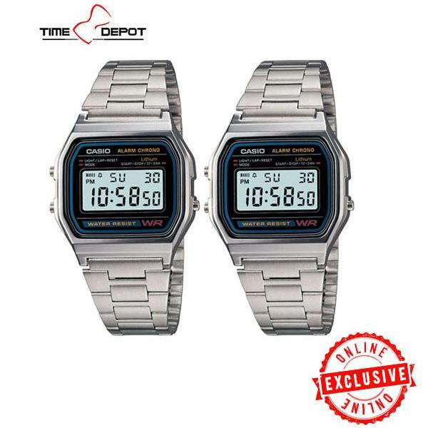 8da422079db3 Casio Unisex Silver Stainless Steel Strap Watch (Bundle of Two) A158WA-1DF(