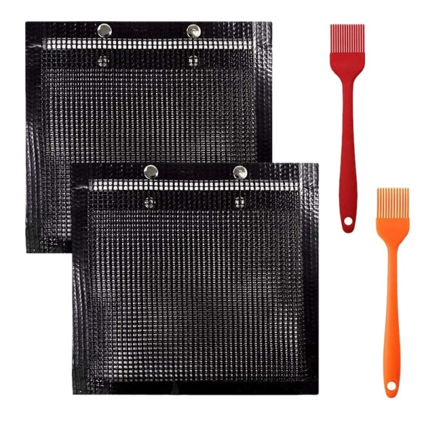 2Pcs 22X27cm Non-Stick Baking Grilling Mesh Bag with 2 Silicone Brush Heat-Resistant Reusable Easy to Clean Bag