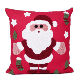 45 45 Cm Christmas Santa Claus Embroidered Linen Pillow Cover Pillow Case For Home Decorations Sofa (Intl)
