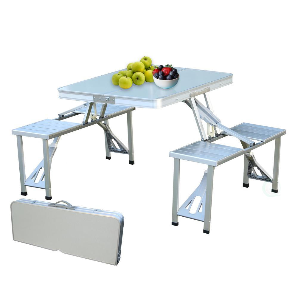 - Outdoor Aluminum Portable Folding Camp Suitcase Picnic Table With