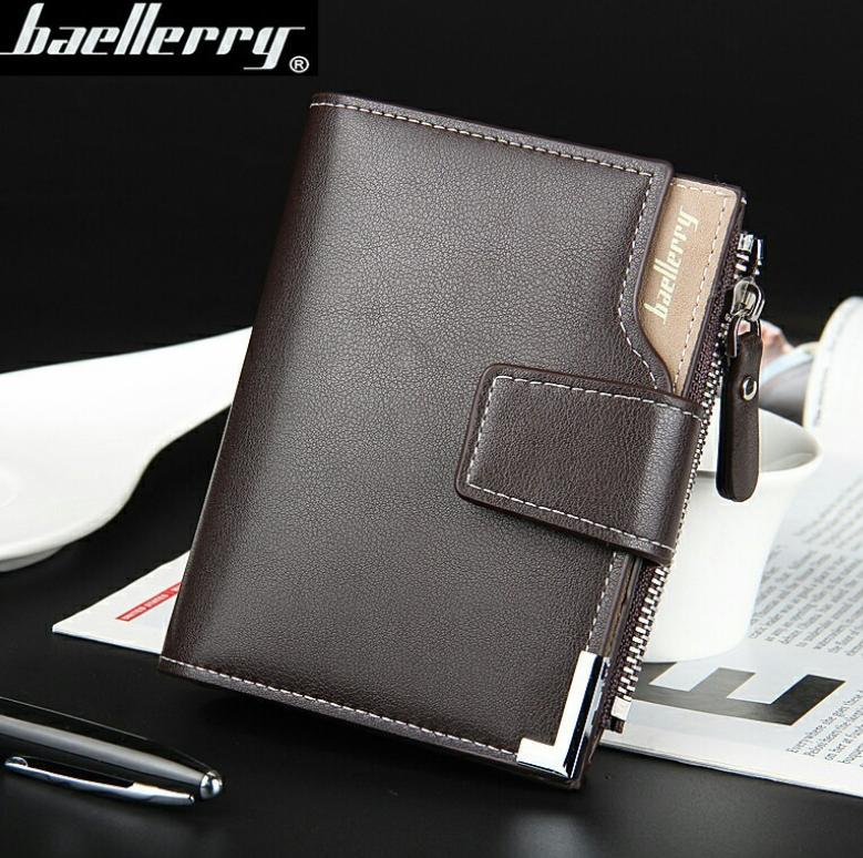 9fa1180b5d Baellerry Big Capacity Men Wallet Leather Vertical Leather Credit Card  Holder With Zipper-129-