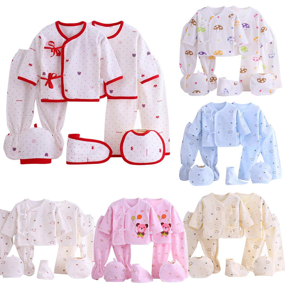 Childrens Digest 7 pcs/set Baby Newborn Girls Boys Soft Cotton Cartoon  Printing Clothes Set Leisure Wear