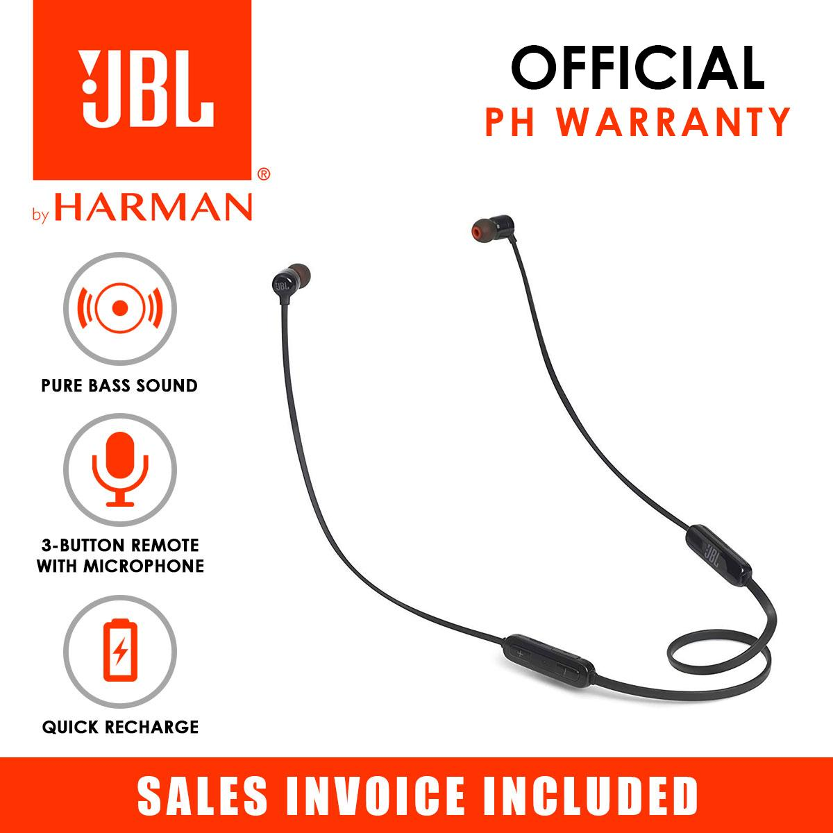 JBL T110BT Pure Bass Wireless Bluetooth In-Ear Headphones with Mic (Black)