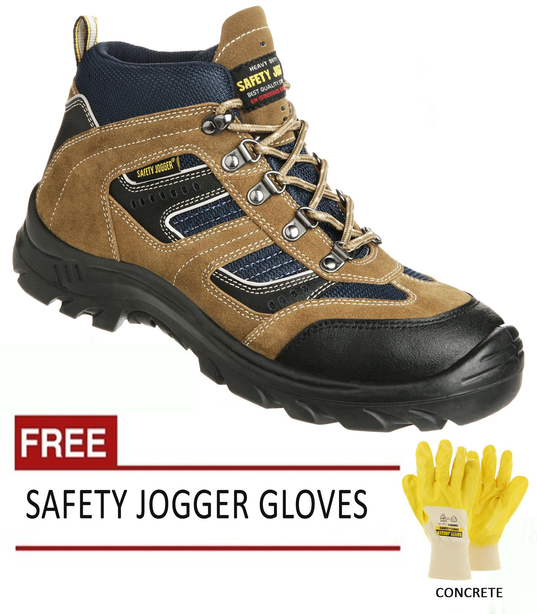 Safety Jogger X2000 S3 High Cut Safety Shoes For Men Safety Footwear Steel Toe (brown) With Free Safety Jogger Gloves (concrete) By Trisco.