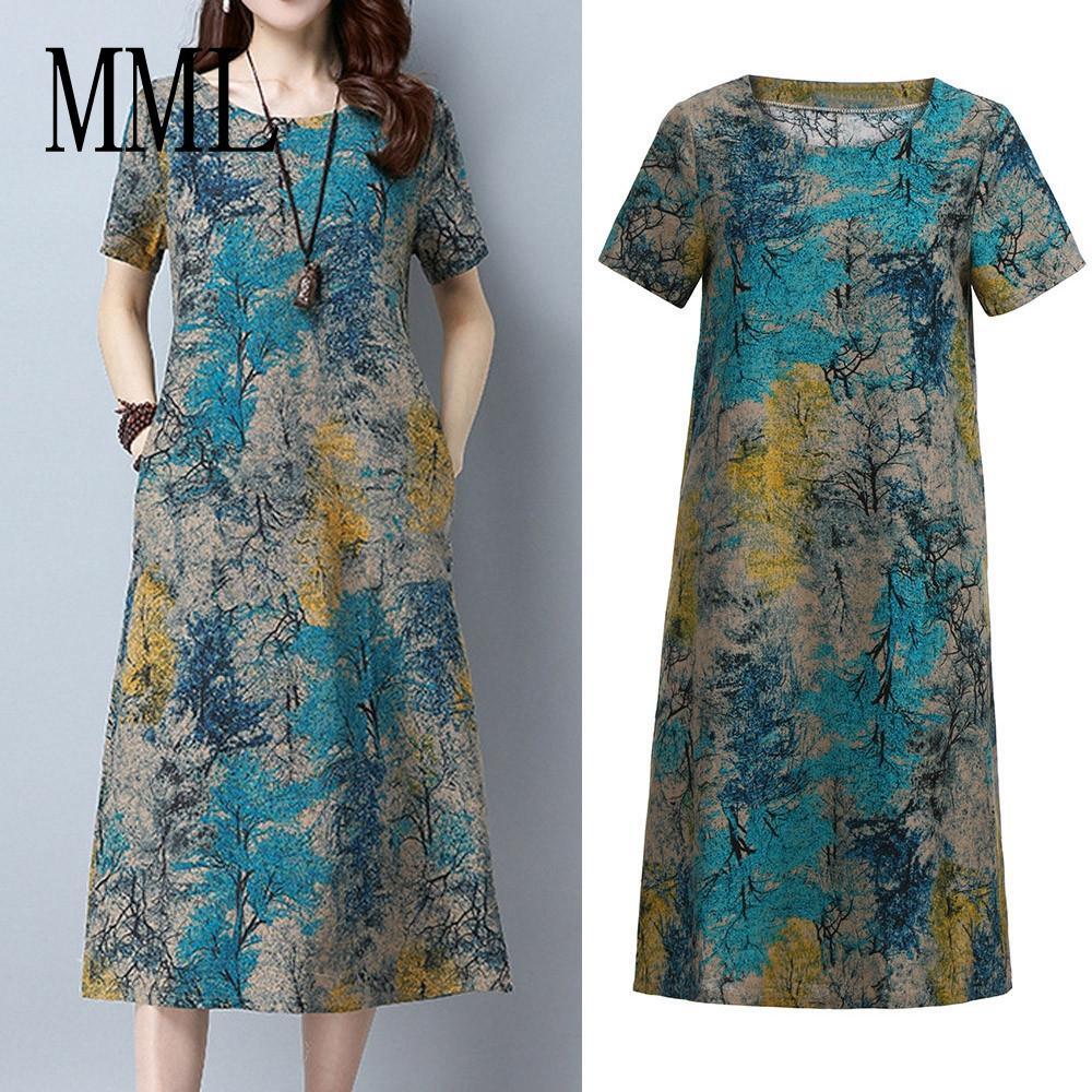 4a88e27611f93 Fashion Women Short Sleeve O Neck Pocket Cotton Linen Printed Loose Casual  Dress MML