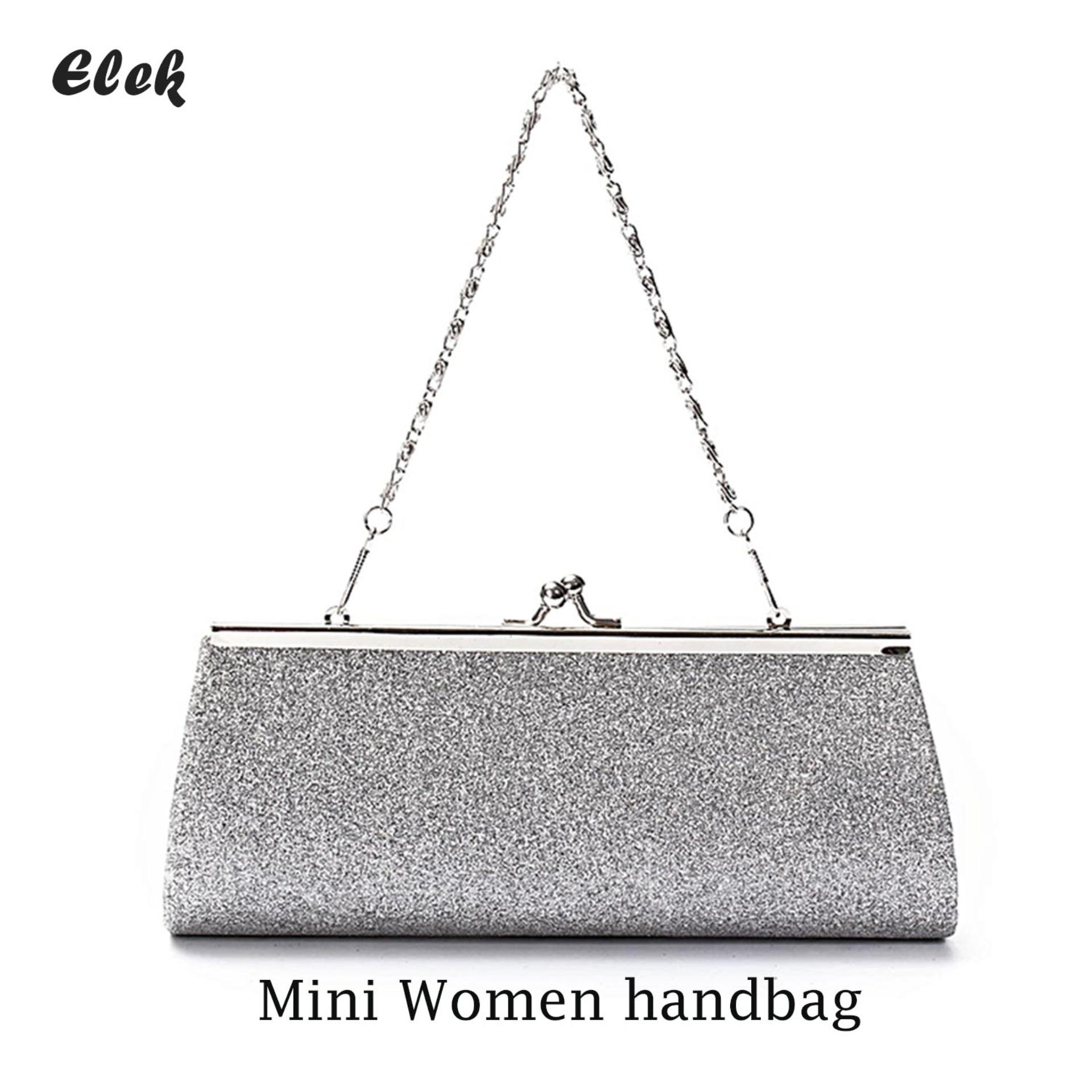 df0fcd36df Elek Ladies Girls Sparkly Glitter Clutch Handbag Wallet Wedding Bridal Prom Party  Evening Purse Sliver(