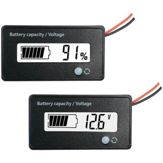 DC 12V 24V 36V 48V 72V Battery Meter, Battery Capacity Voltage Monitor Gauge Indicator, Battery Tester White thumbnail