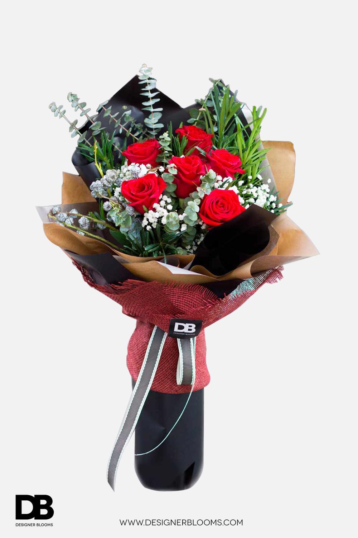6 Ecuadorian Roses in a Bouquet (Red)