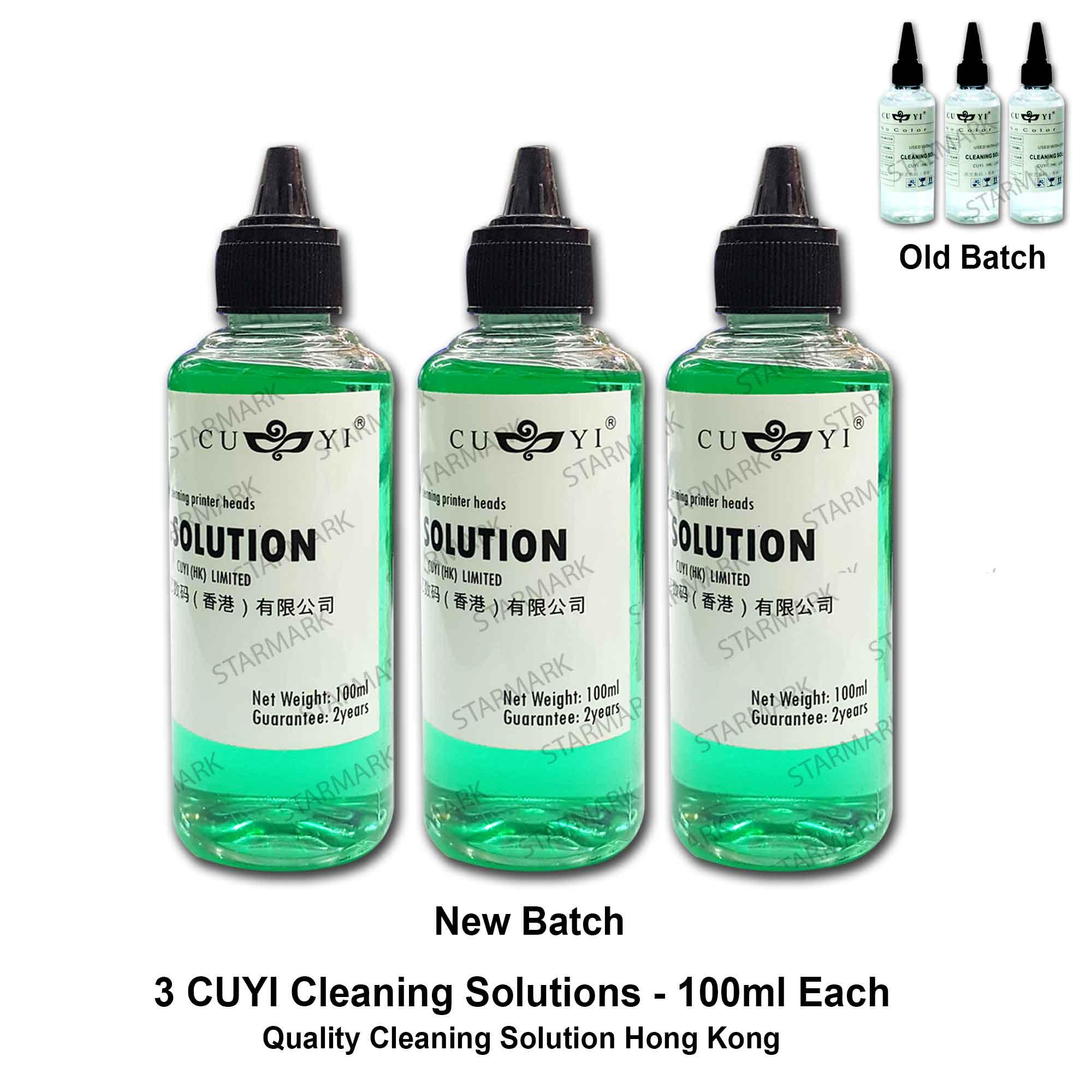 3 Bottles Cuyi Print Head Cleaning Solution Hong Kong 100ml Each, For Epson, Canon, Hp, Brother Printers - Clear By Starmark Enterprises