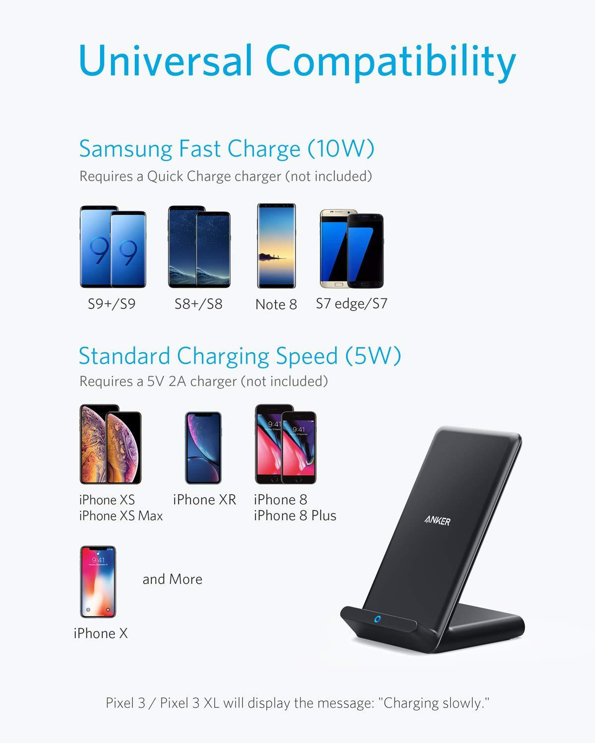 Amuoc 10W Qi-Certified Wireless Charging Pad No AC Adapter - 2019 New Version 10W Fast-Charging Galaxy S10//S9//S9+//S8//Note 9//Note 8 Compatible iPhone Xs Max//XR//XS//X//8//8 Plus Fast Wireless Charger