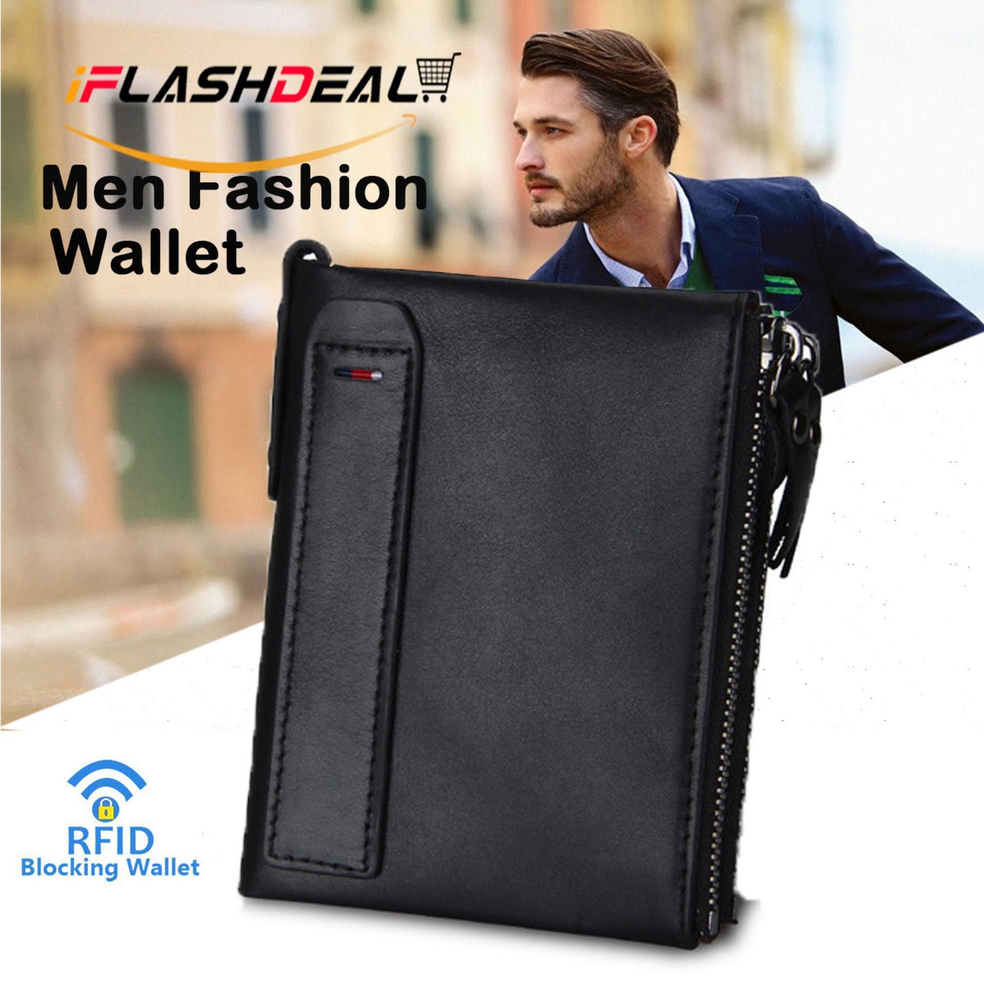 iFlashDeal Men Small Wallets Fashion RFID Blocking Mini Wallet Hot Crazy  Horse Leather Double Zipper Bifold 874e531f0e