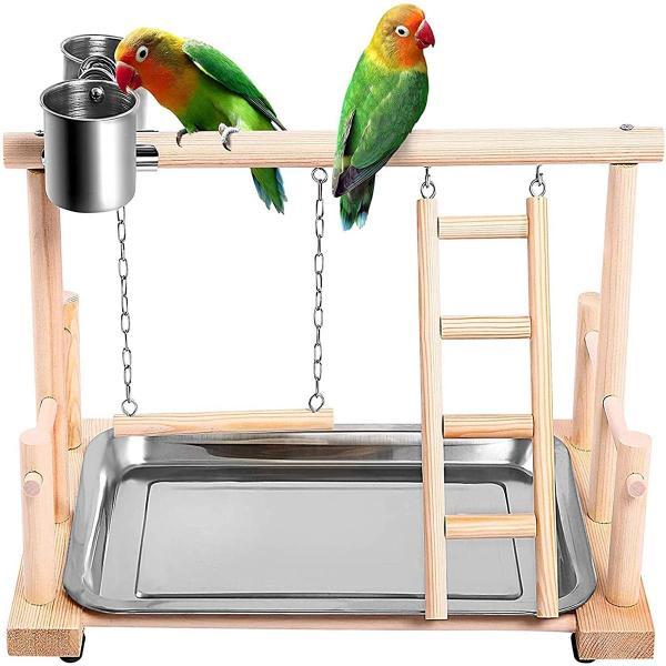 GA27524 Huấn Luyện Thú Cưng Conure Lovebirds Lung Lay Với Cốc Tạp Đồ Chơi Vải Mái Chân Chơi Đẹp Playstand Chim Cá Rô Leo Thang