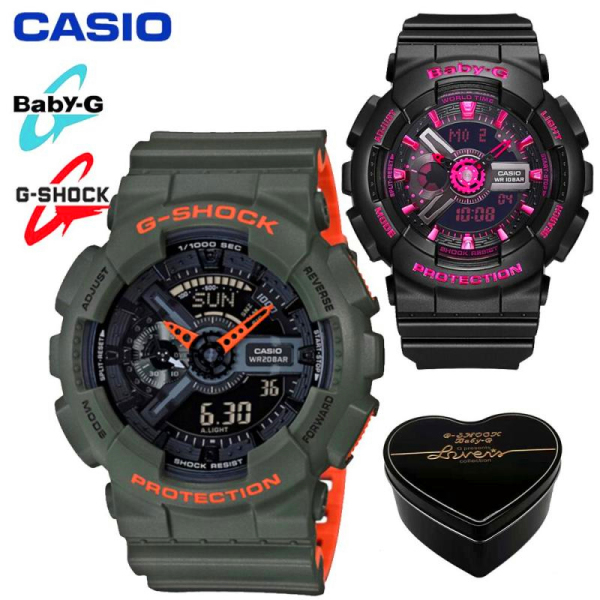 Original G Shock Baby G GA110 BA111 Men Women Couple Set Sport Watch Dual Time Display Water Resistant Shockproof and Waterproof World Time LED Light Sports Lover Wrist Watches with 2 Year Warranty BA-111-1A/GA-110TS-1A4 (Ready Stock) Malaysia