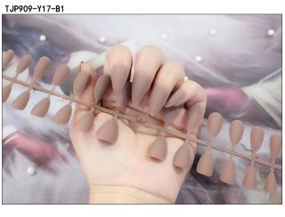 [Keo đính kèm] 24 miếng móng tay giả dài ba lê mờ có thể đánh bóng được nail nghệ thuật sương mờ hình giọt nước hạnh nhân đã hoàn thành miếng dán móng thumbnail