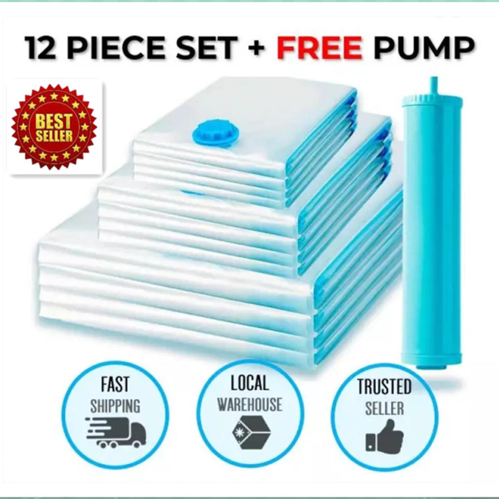 Best Ing 12 X Premium Vacuum Storage Bags Compression Travel Work With Any Cleaner Free Hand Pump For Trips Saves Up To 80