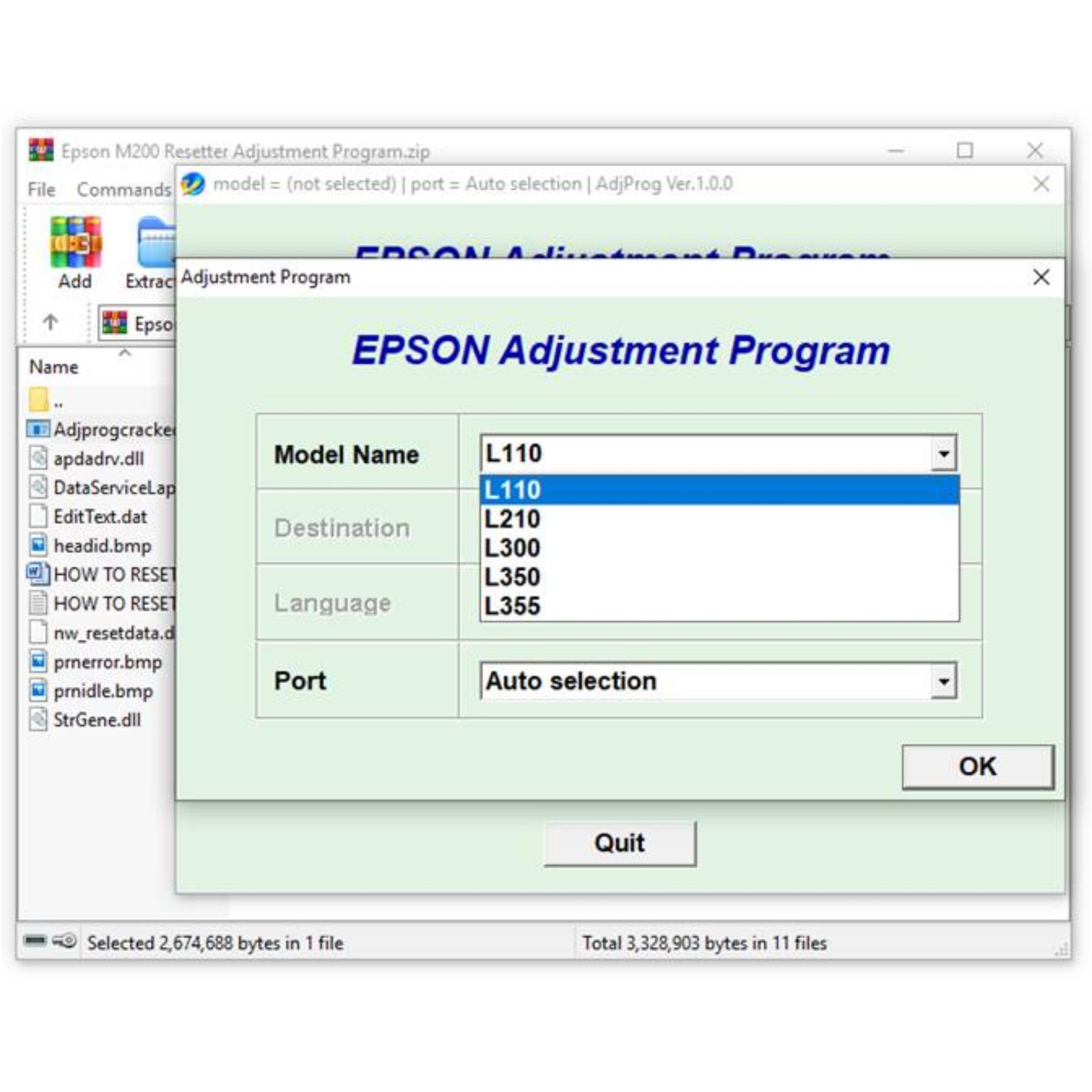 Epson L110 L210 L300 L350 L355 Resetter Adjustment Program Unlimited Use