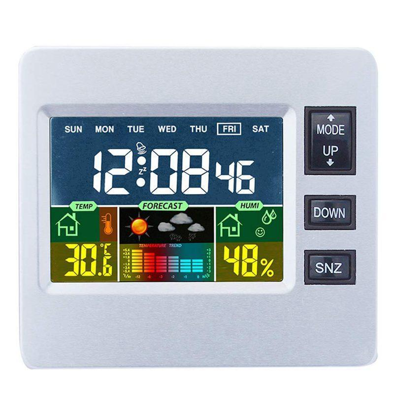 Digital Wireless Weather Station With Lcd Color Display For Weather Forecast With Indoor Sensor Temperature Humidity Monitor Alarm Clock H306 bán chạy