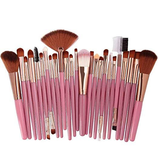 25pcs Professional Make Up Brush Set ( Pink&Gold ) Philippines