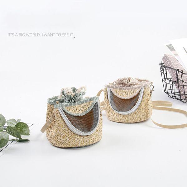 MASSACRESTORE3RE9 Breathable Straw Mesh Breathable Portable Small Animals Hedgehog Guinea Pig Hamster Bag Long Detachable Shoulder Strap Light Coffee Color