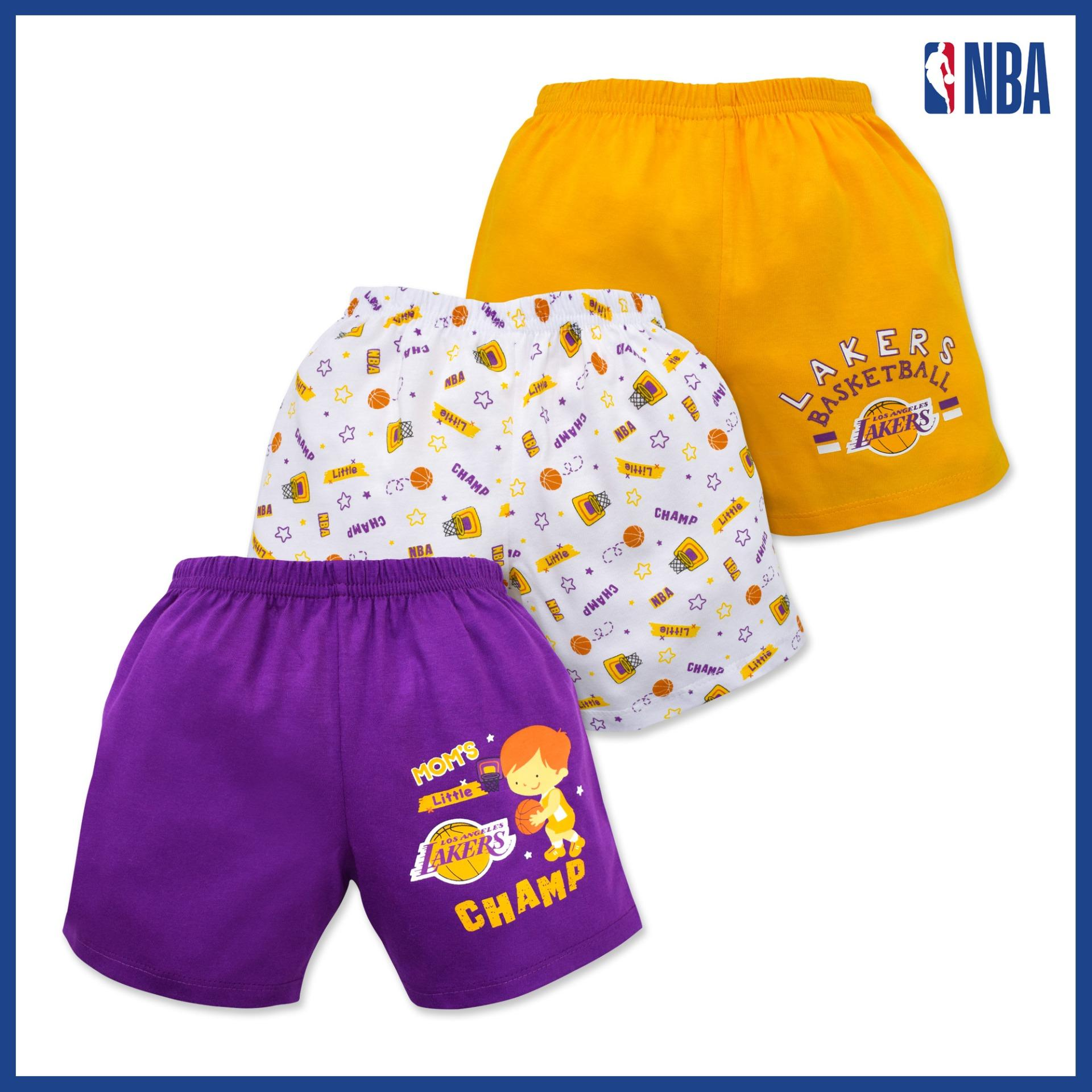 Nba Baby - 3-Piece Shorts (moms Little Champ - Lakers) By Cotton Stuff.
