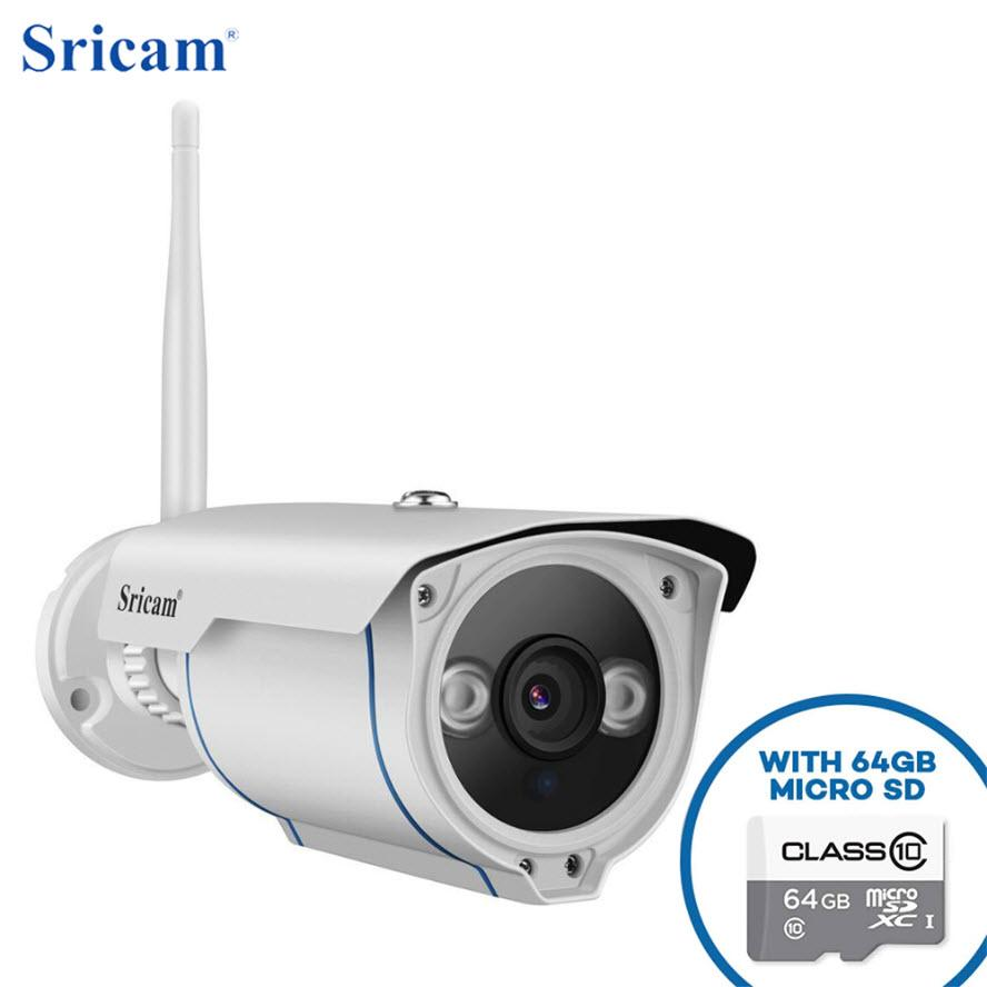Sricam SP007 Wireless CCTV H.264 Night Vision Onvif Outdoor Security Camera with 64GB Micro SD Card