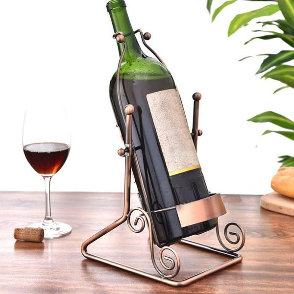 1 PCS Creative Swing Wine Rack 3 Liters Wine Display Rack European Wrought Iron Wine Rack (Without Bottle and Cup)