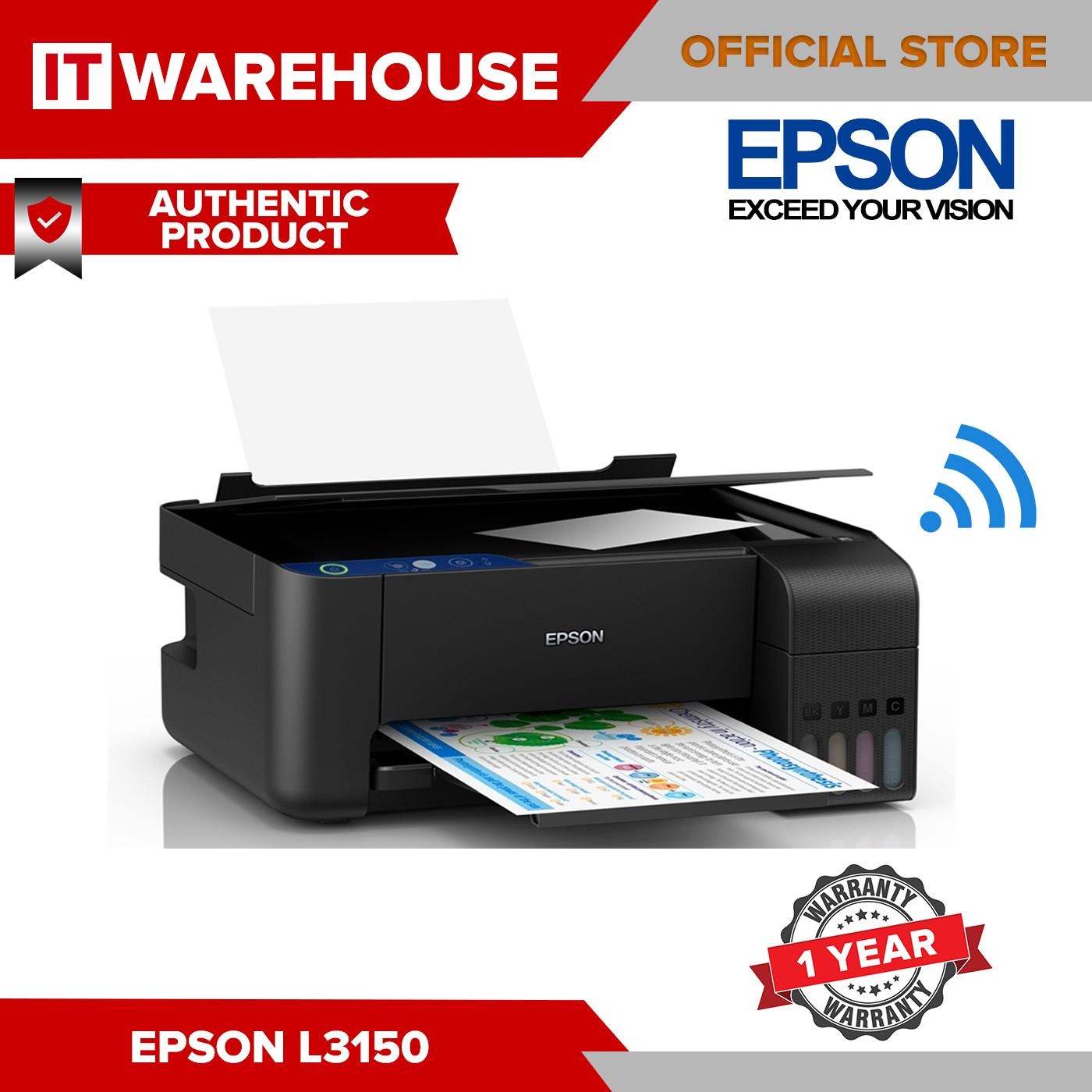 Epson L3150 EcoTank All in 1 Ink Tank Printer 3 in 1 with Wireless - Print  Scan Copy Printer (with 1 set BCYM Original Inks)
