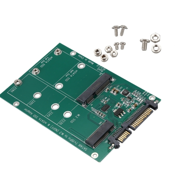 Giá 2 in 1 Mini PCI-E 2 Lane M.2 And mSATA SSD To SATA III 7+15 Pin Adapter