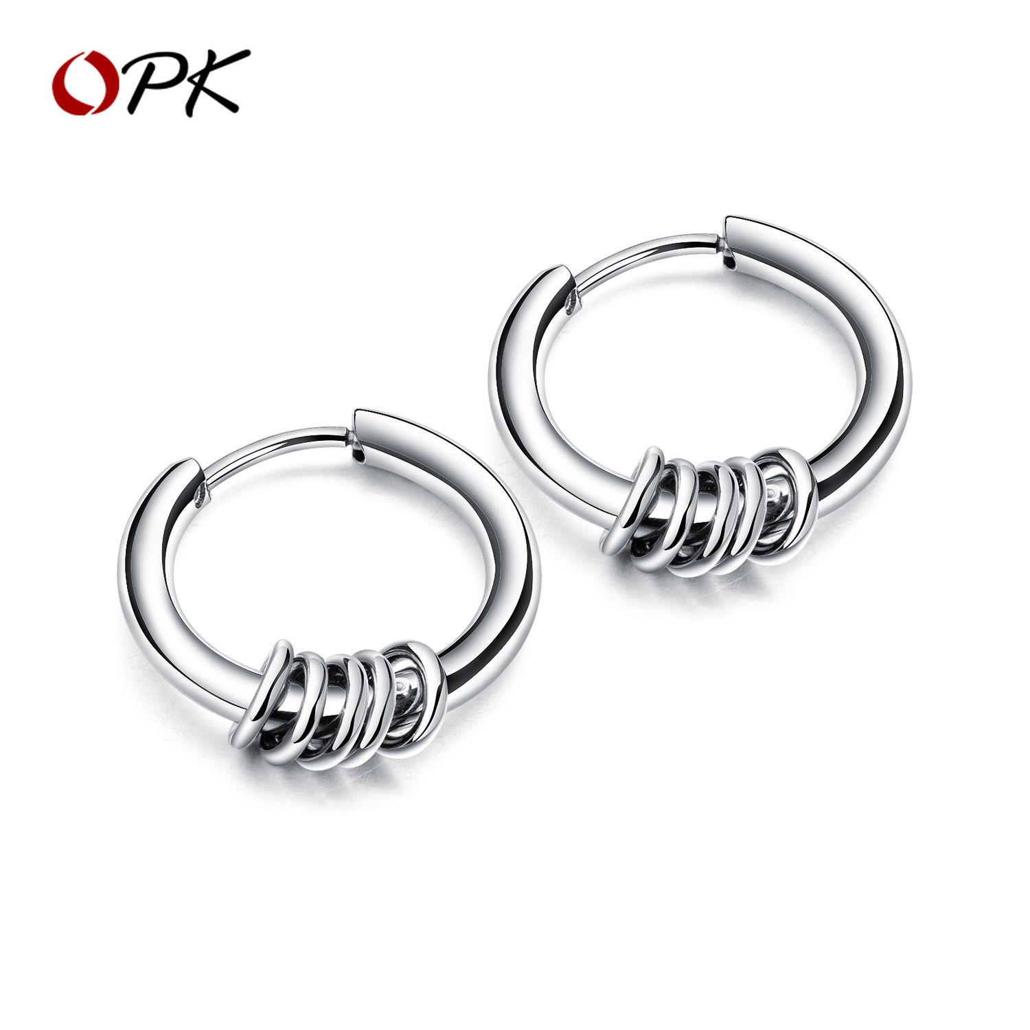 7c76e266b6b43 OPK men earrings Korean version of the same paragraph titanium steel  earrings stainless steel ear ring hipster accessories wild personality  circle ...