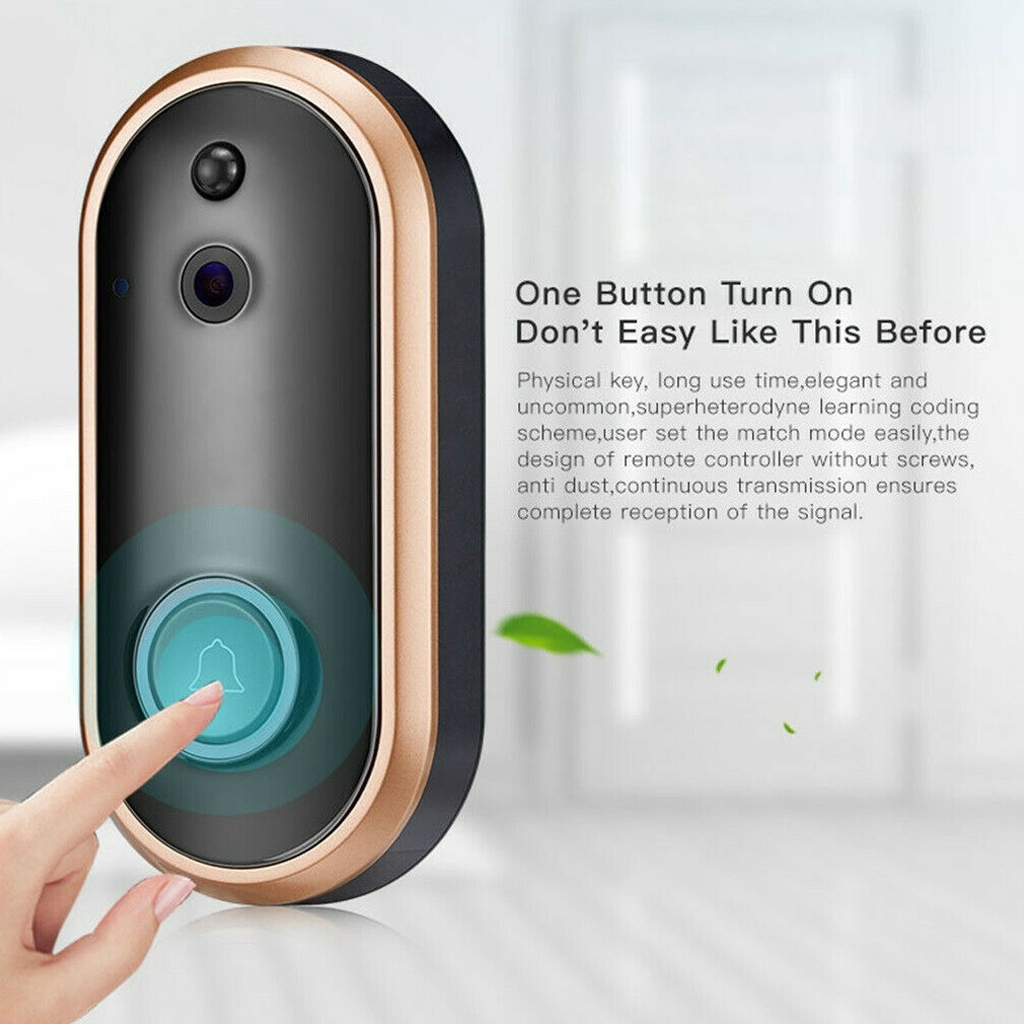1080P WiFi Doorbell Smart Home Security Camera Two-Way Audio PIR Motion Detection IR Night Vision Wireless Doorbell for IOS and Android