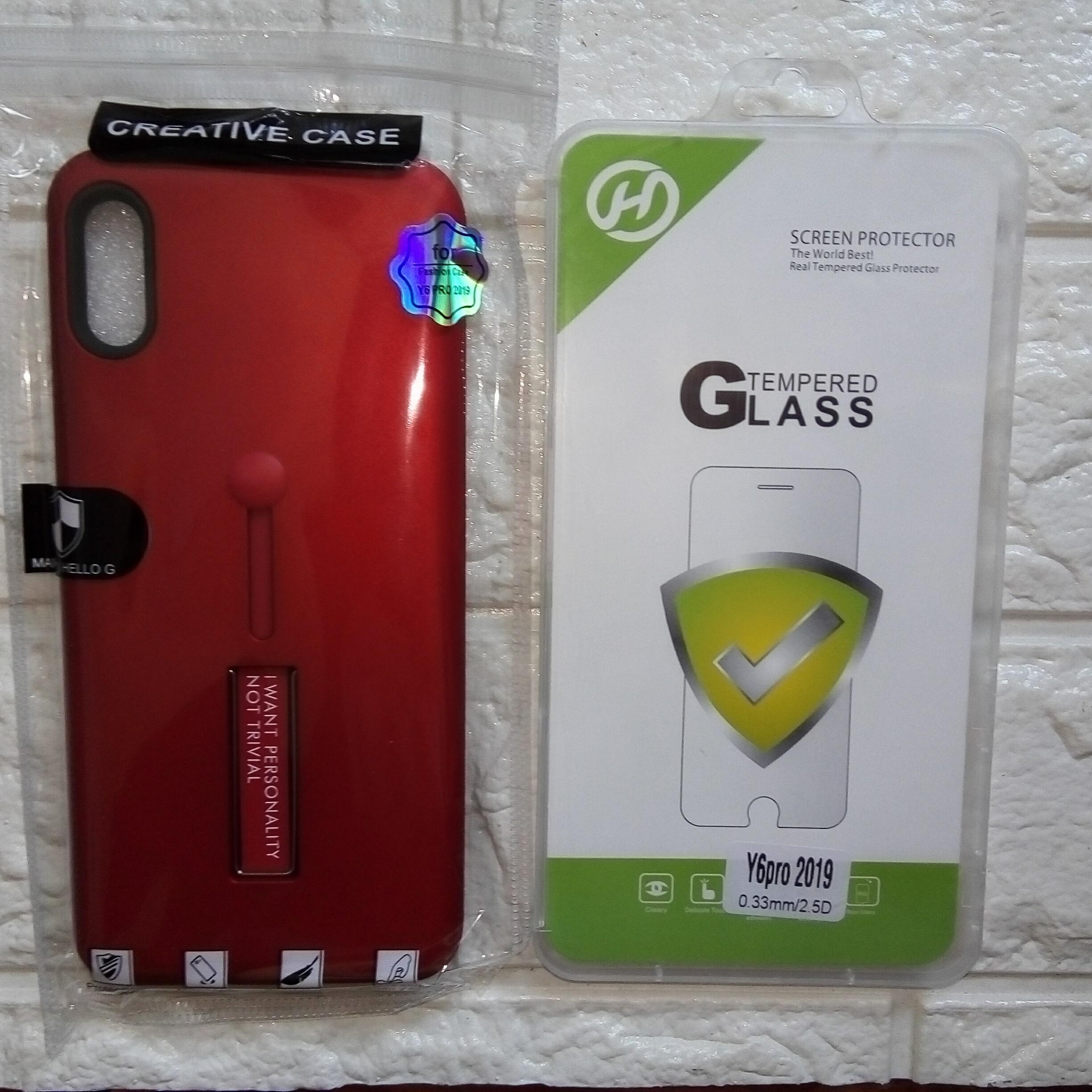 Huawei y6 pro 2019 case with tempered glass