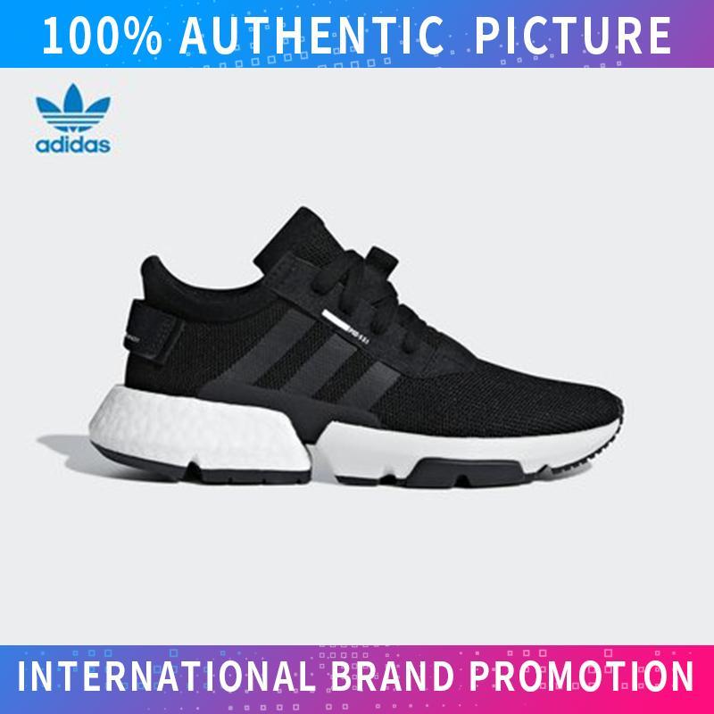 Adidas_pod-S3.1 Boost U Nisex ถนนต่ำรองเท้าผ้าใบยอดนิยมรองเท้าสำหรับบุรุษและสตรีสเก็ตบอร์ดรองเท้าผ้าใบ (สีดำสีขาว).