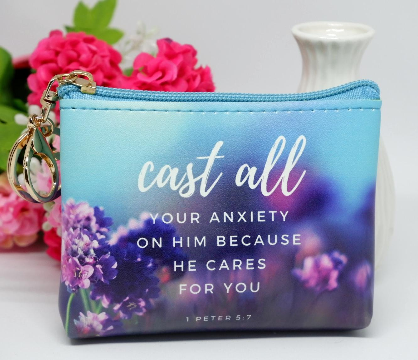 Coin Purse with Bible Verse / Scripture - Cast all your anxiety on him  because he cares for you  1 Peter 5:7