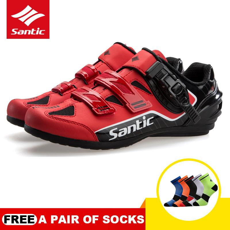 Santic New PRO Men Cycling Shoes Non-locking Power Rotation Buckle Casual Road Bike Bicycle Shoes WMS18005