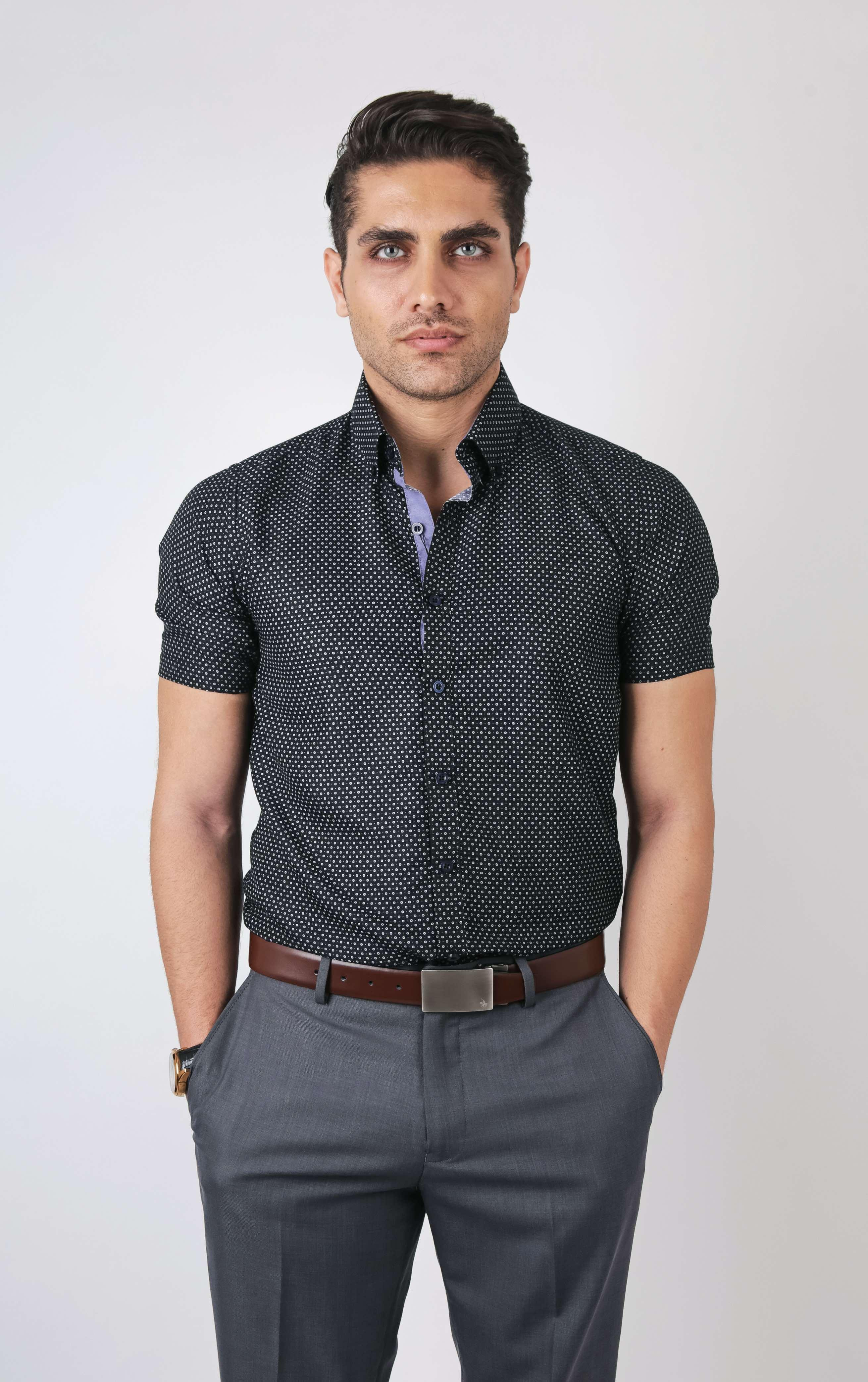 48e29aa54e5 PROFILE by IDENTITY Mens Printed Button Down Smart Casual Short Sleeve Shirt  - K1121-K1122