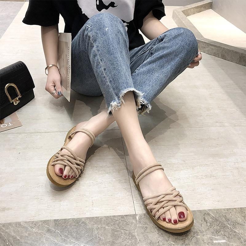 f4bb035d31d3 Weaving Sandals Schoolgirl 2019 Summer New Style Versatile Double Purpose  Flat Top Shoes Korean Style Fashion
