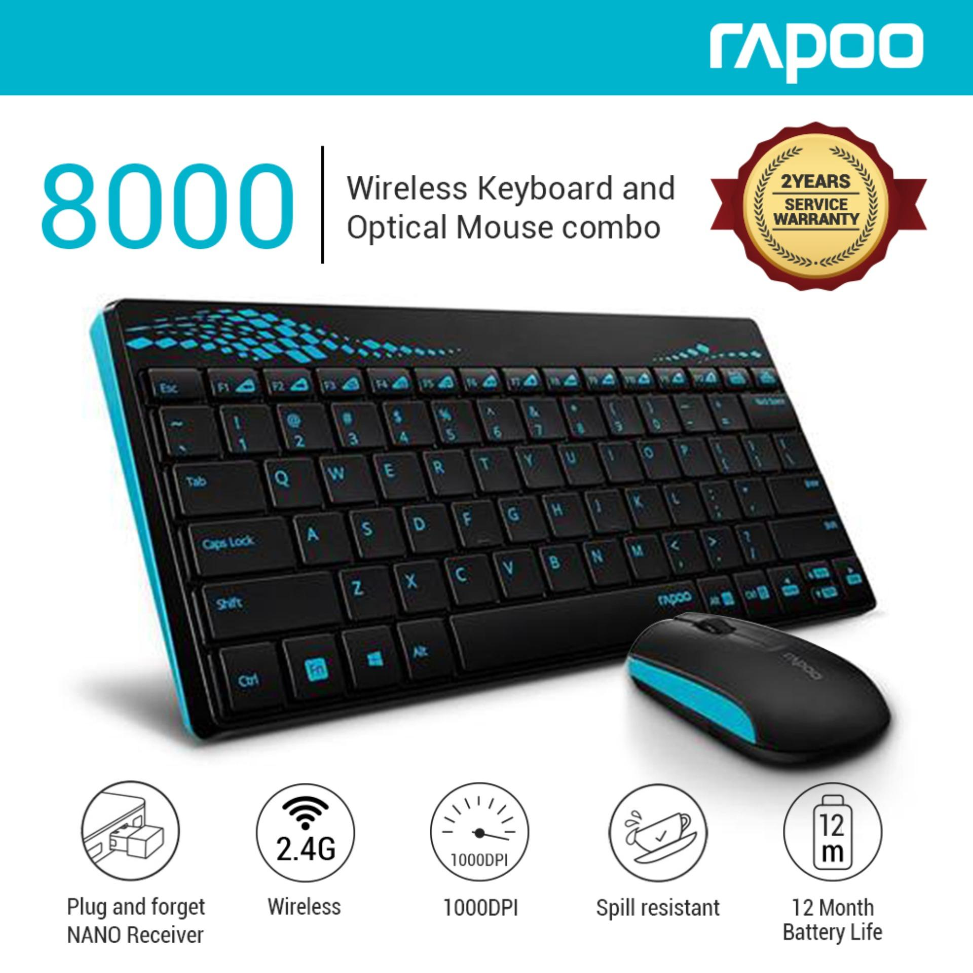 82c42ac2949 Rapoo 8000 2.4G Wireless Membrane Keyboard and 1000 DPI Optical Mouse Combo