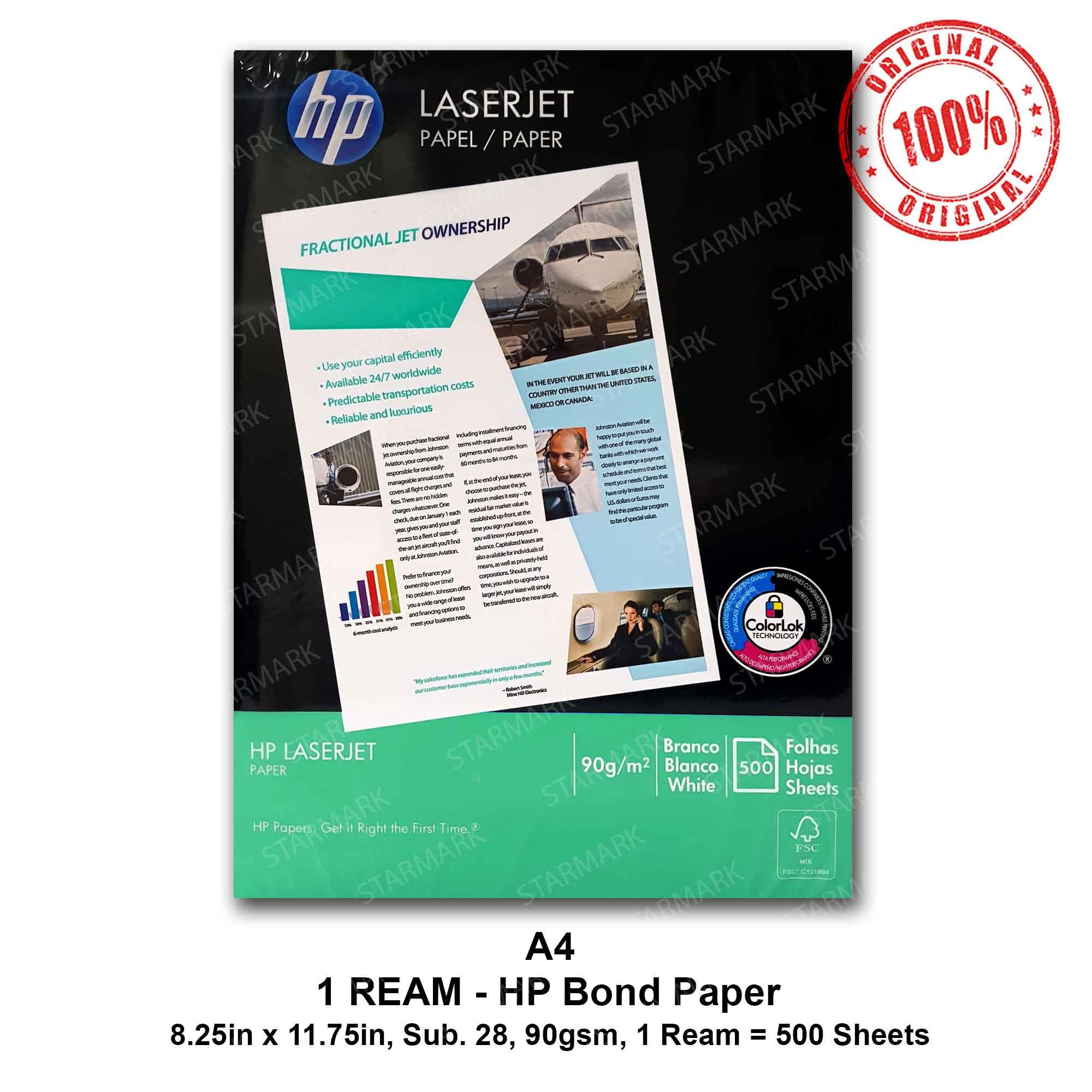 HP Bond Paper A4 Copy Paper Papers 90gsm Substance 28 - A4 Size  8 25inx11 75in, 8 25 inches x 11 75 inches - Set of 1 Ream - Genuine and  Original
