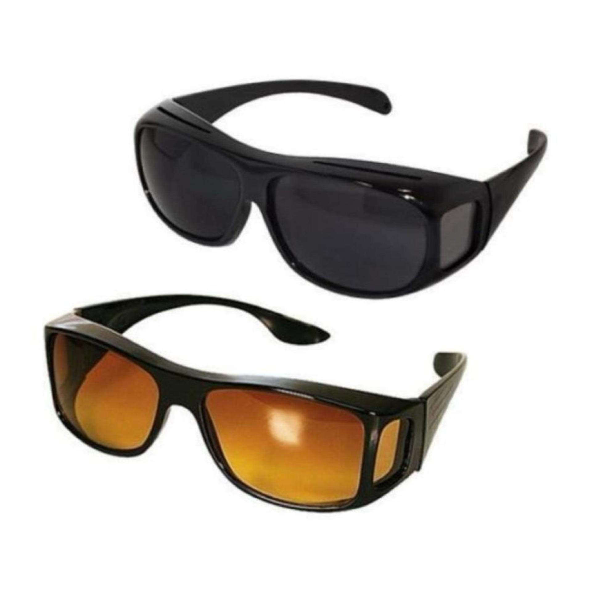 36ea92f76186 HD Vision Anti Glare Night View Driving Glasses Wrap Around Sunglasses Set  of 2