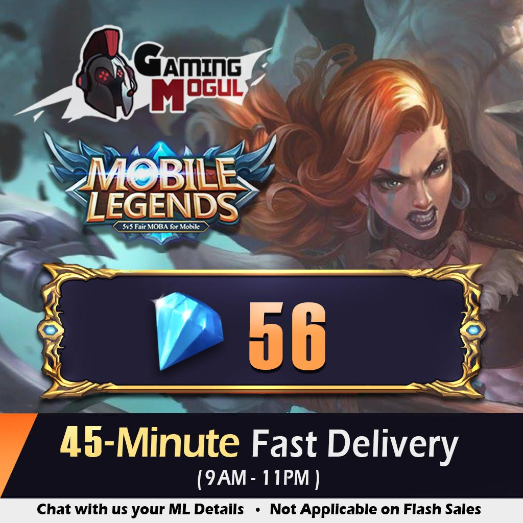 Mobile Legends Diamonds - 56 ML Dias - [FAST DELIVERY & TOP RATED] - Gaming  Mogul