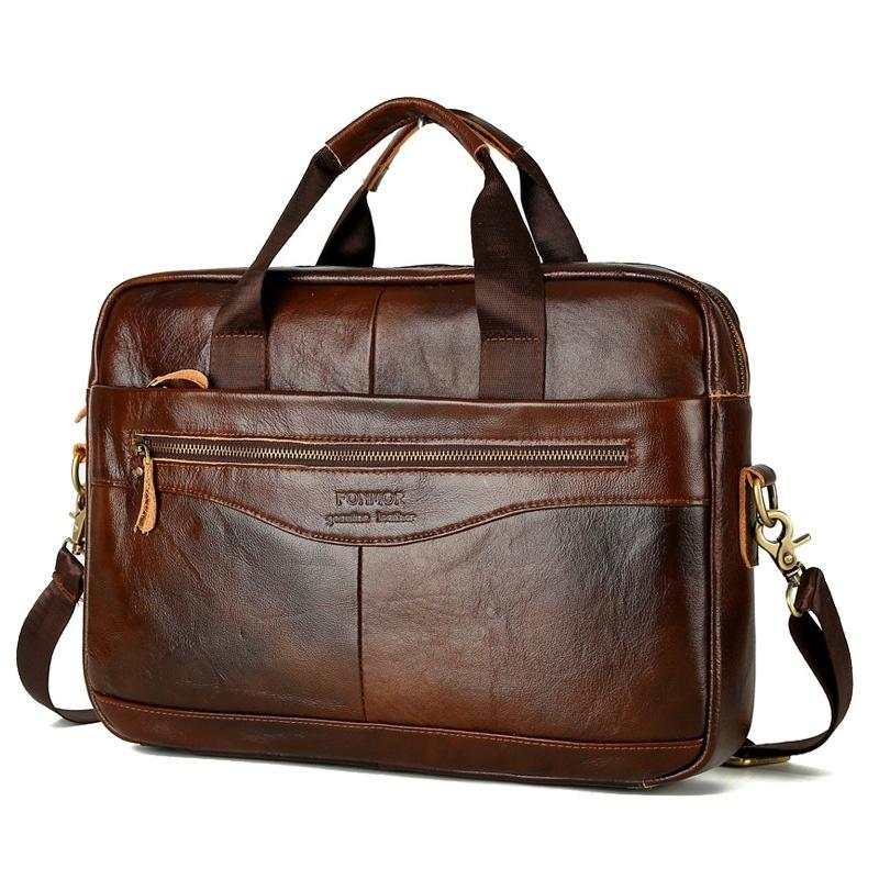 Men Vintage Oil cowhide Briefcase Handbag Messenger Businessl Bag