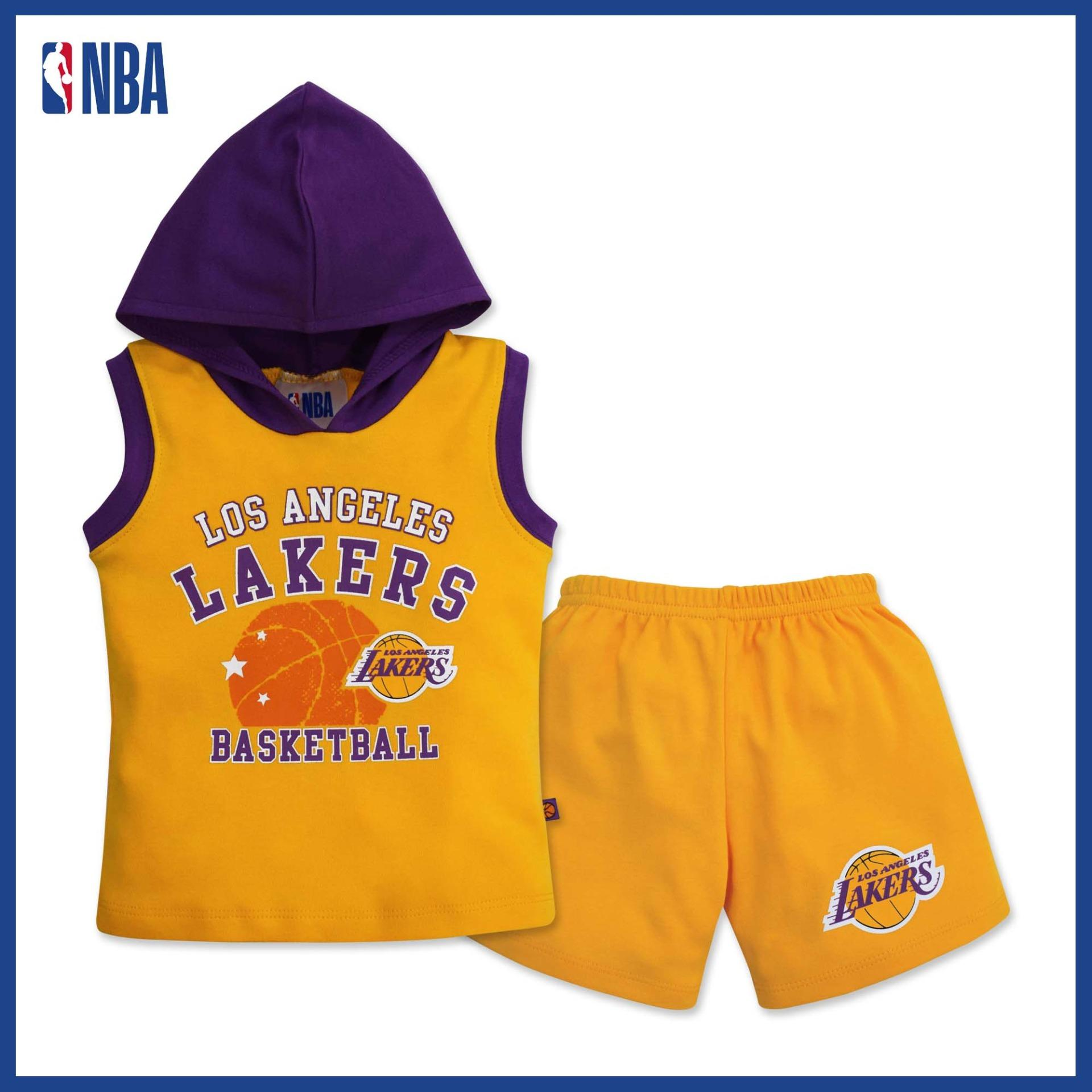 8db94969544 NBA Baby - Muscle Shirt with Hood and Shorts Set (Baby Baller - Lakers)