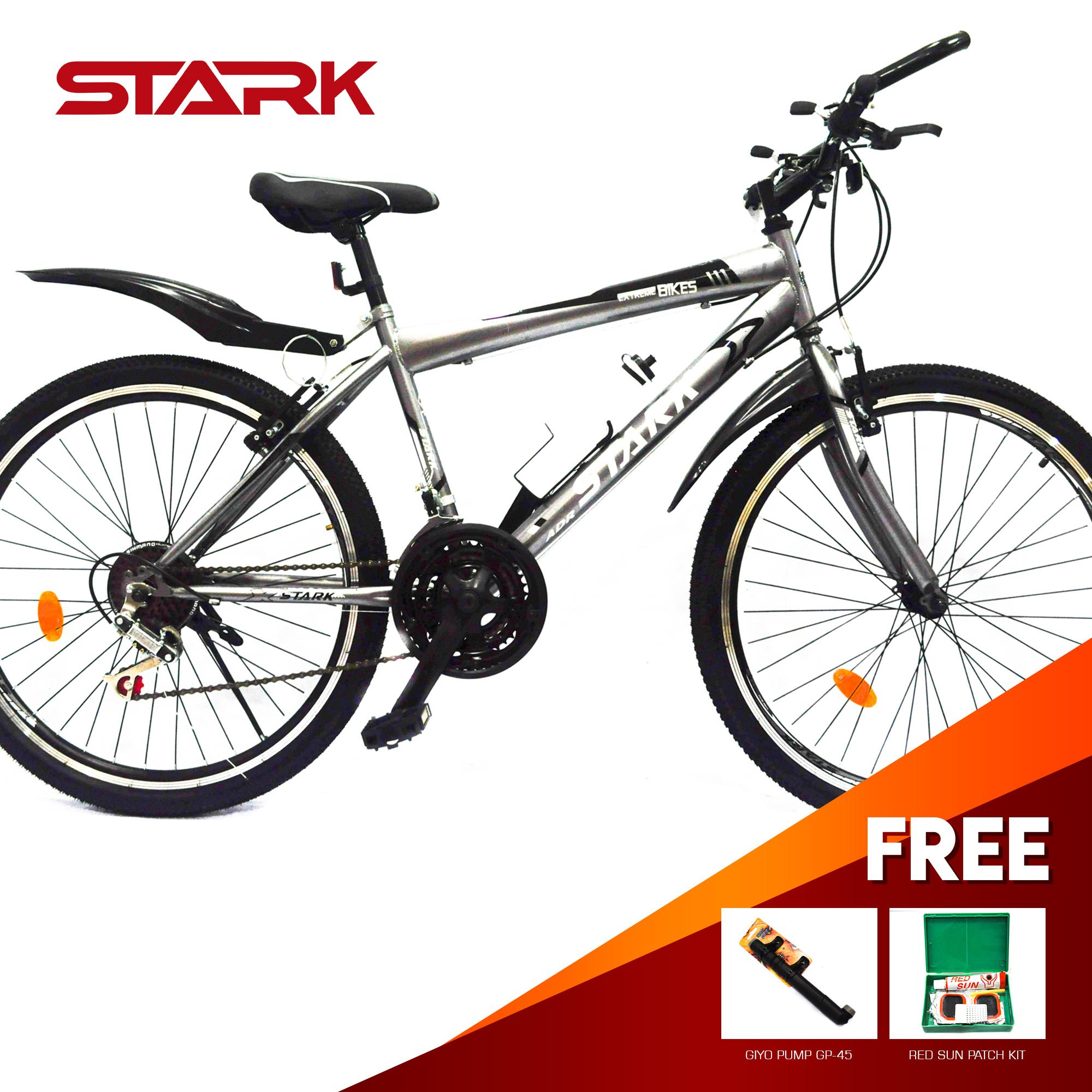 Stark Mountain Bike # 26 Double Wall Rim V-brakes Grey WITH FREE TIRE PATCH  AND GIYO PUMP 45