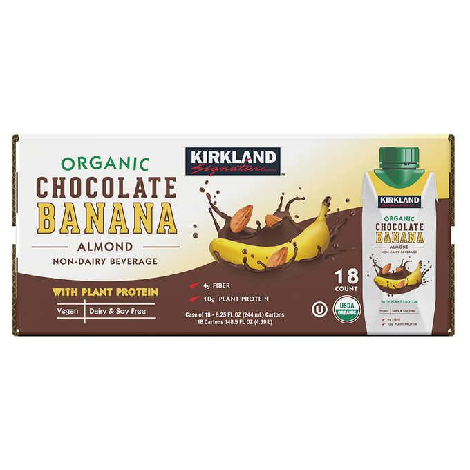 Kirkland Signature Organic Almond Beverage, Chocolate Banana, 8 25 oz,  18-pack