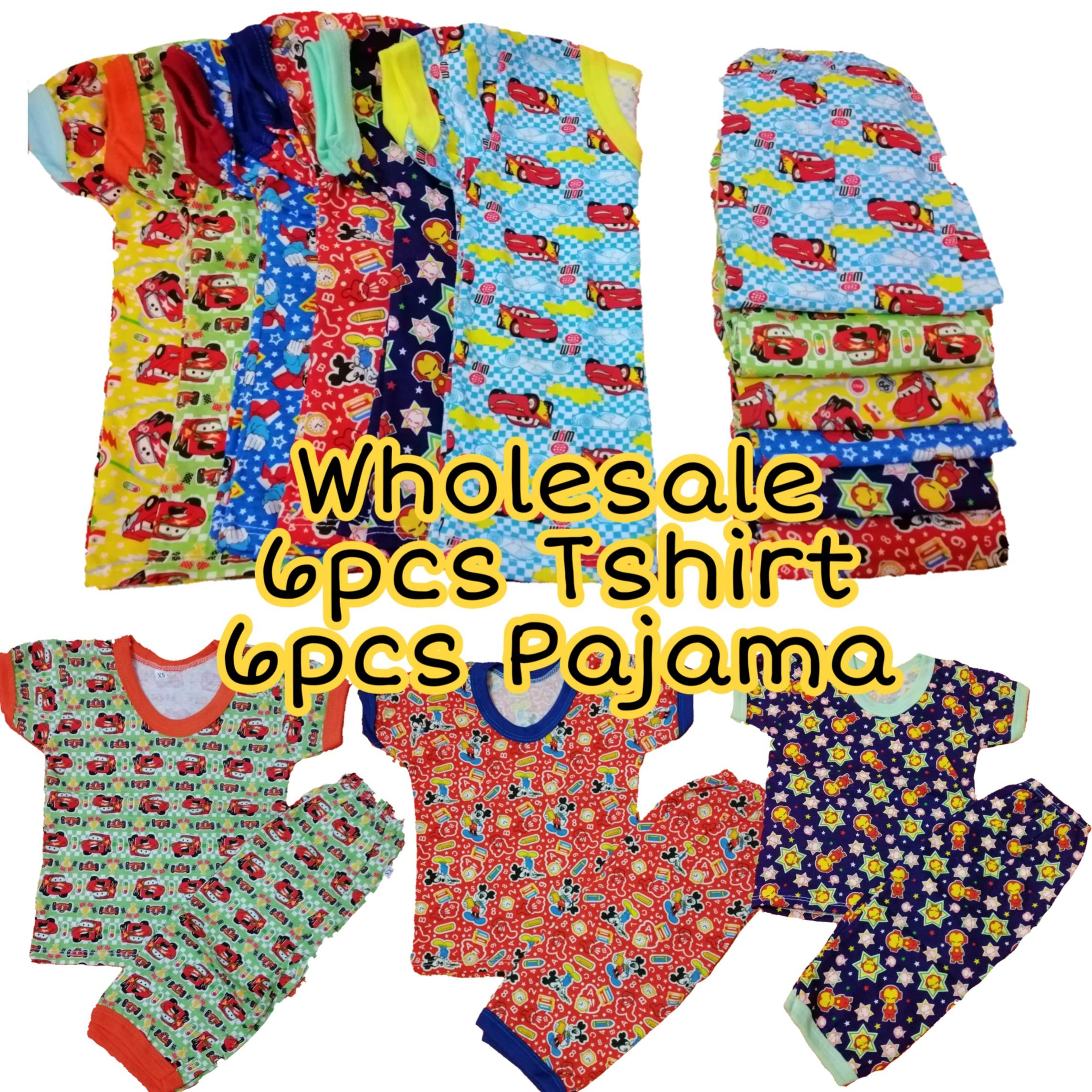 Wholesale Set Of 6, 12pcs Printed Tshirt Pajama Terno For Boy 6-12 Months By My 2 Little Hannahs Shop.