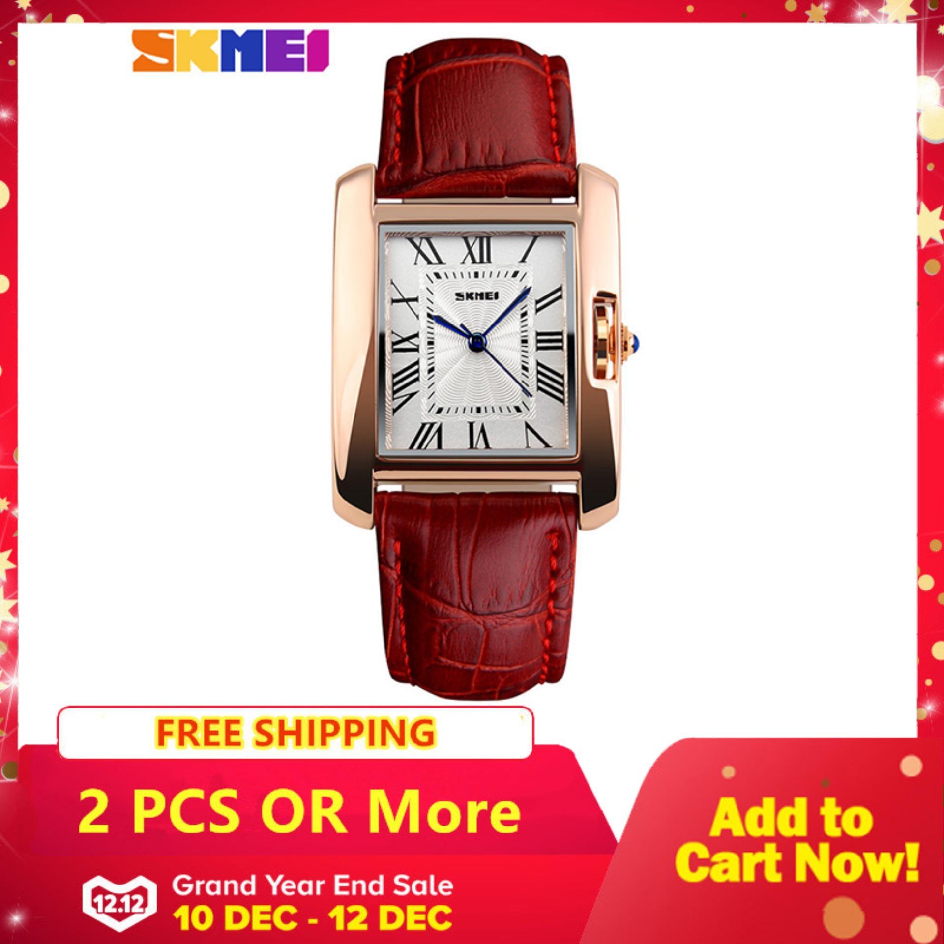 SKMEI 1085 Women Waterproof Quartz Watches Luxury Fashion Casual Watch Leather Strap Lady Dress Wristwatch -