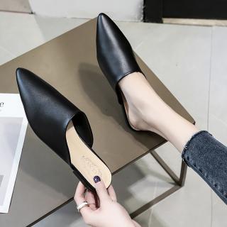 Lười Giày Sục Nữ Gót Bít Mũi Đế Bằng Đầu Nhọn Nổi Danh Trên Mạng Dễ Phối Mốt Thời Thượng Phiên Bản Hàn Quốc Khoác Ngoài Nửa Giày Nữ thumbnail