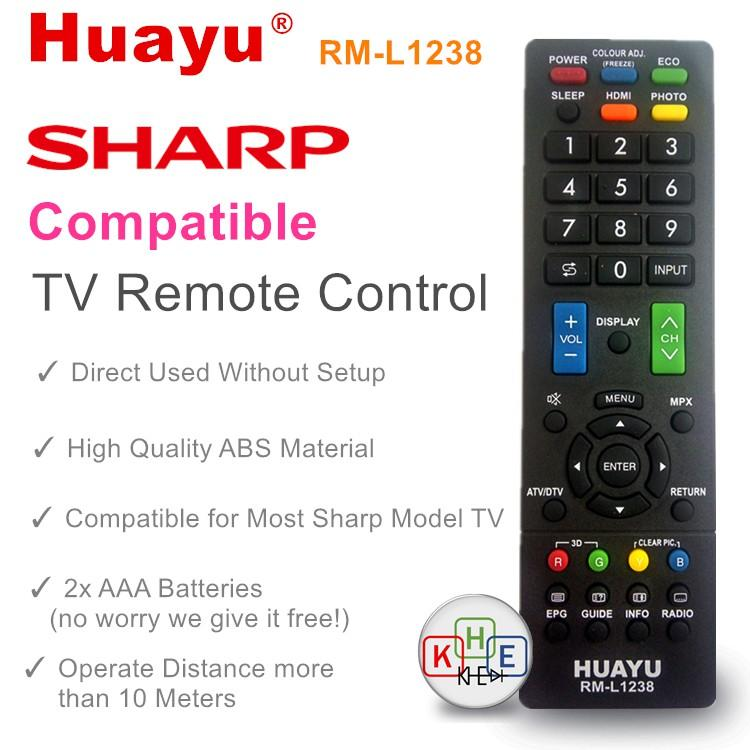 Huayu RM-L1238 Sharp LCD/LED TV Remote Control with 3D Button
