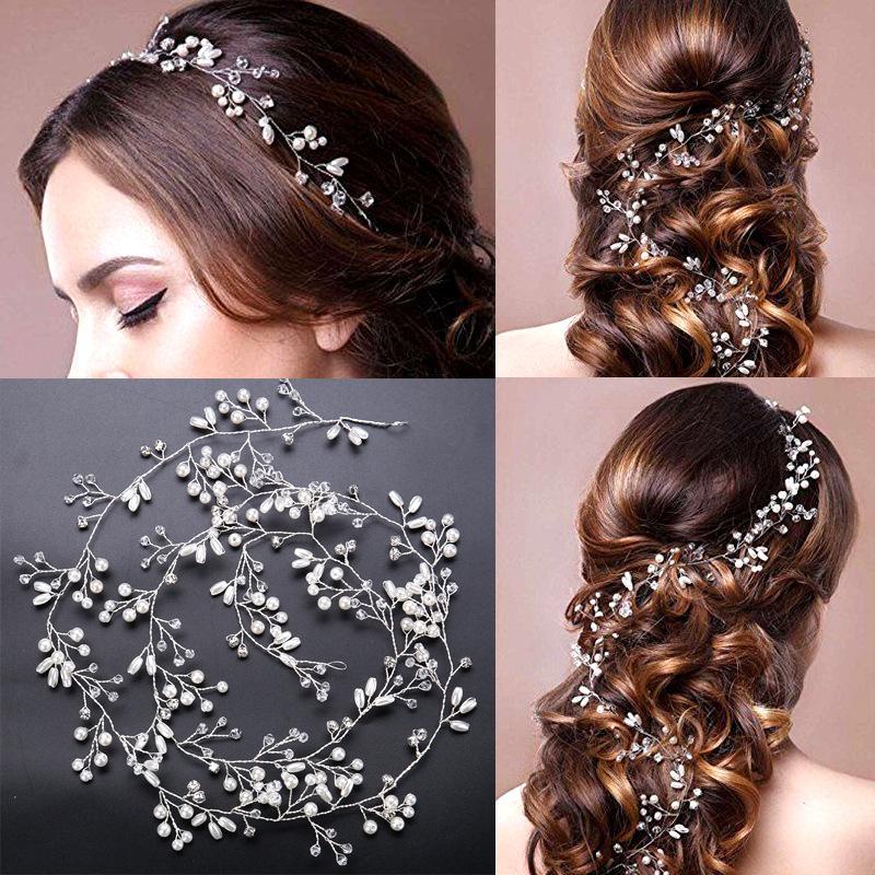 eae937f26091 O-New Crystal Handmade Bridal Headband Headpiece Pearl Hairbands Wedding  Hair Accessories Bride Head Chain
